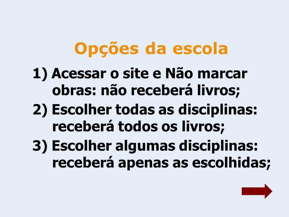 Opções da escola 1) Acessar o site e Não marcar obras: não receberá livros; 2) Escolher todas as disciplinas: receberá todos os livros;