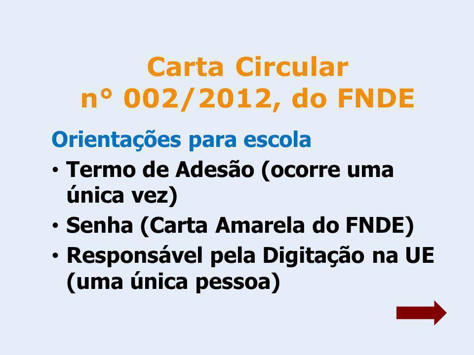 Carta Circular n° 002/2012, do FNDE