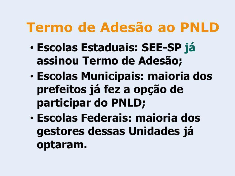 Termo de Adesão ao PNLD Escolas Estaduais: SEE-SP já assinou Termo de Adesão;