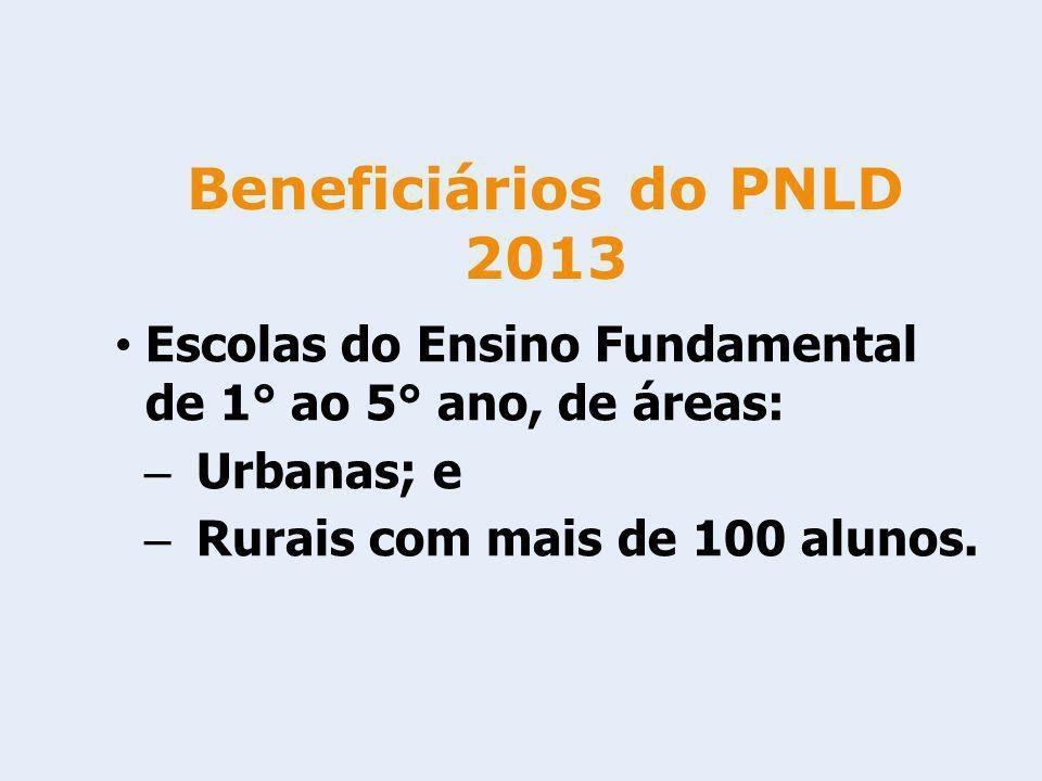 Beneficiários do PNLD 2013 Escolas do Ensino Fundamental de 1° ao 5° ano, de áreas: Urbanas; e.