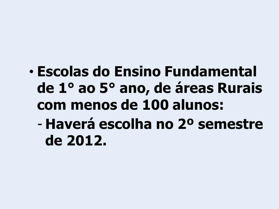 Escolas do Ensino Fundamental de 1° ao 5° ano, de áreas Rurais com menos de 100 alunos: