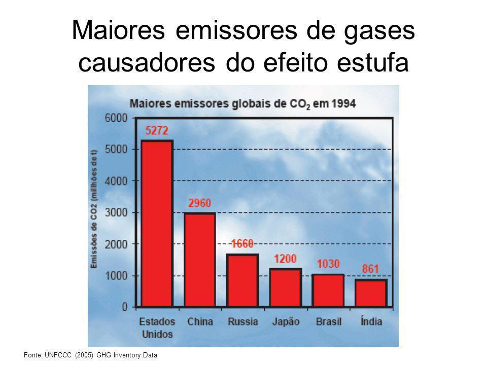 Maiores emissores de gases causadores do efeito estufa