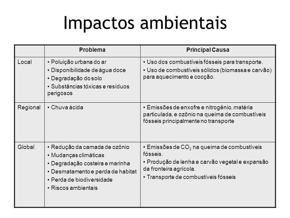 Impactos ambientais Problema Principal Causa Local