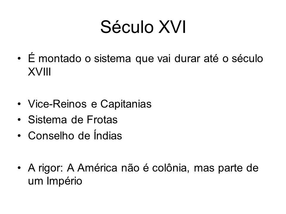 Século XVI É montado o sistema que vai durar até o século XVIII