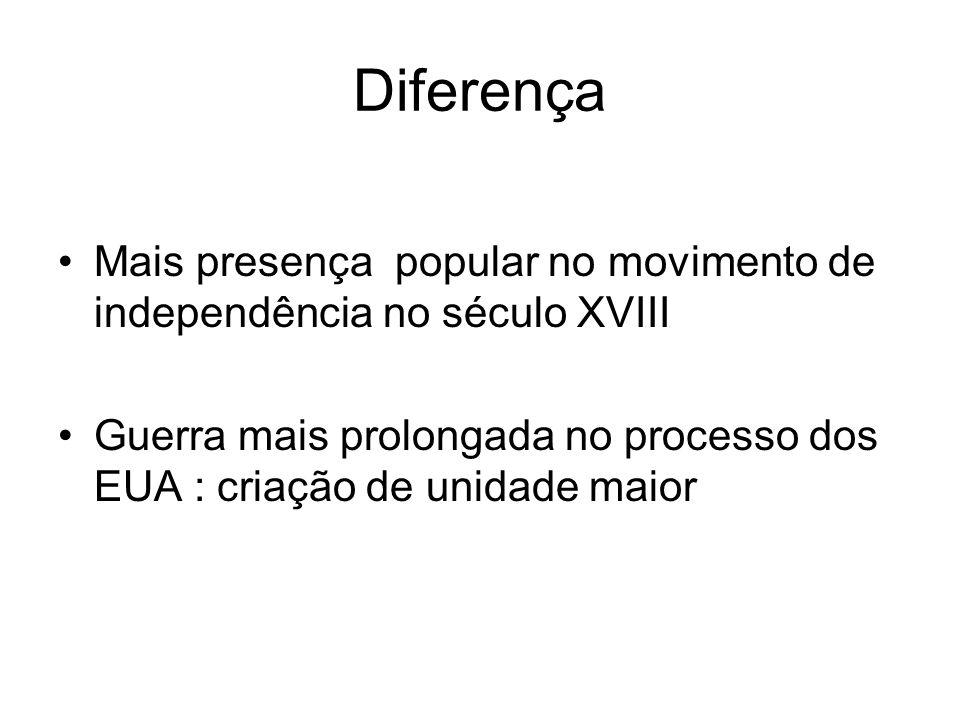 Diferença Mais presença popular no movimento de independência no século XVIII.