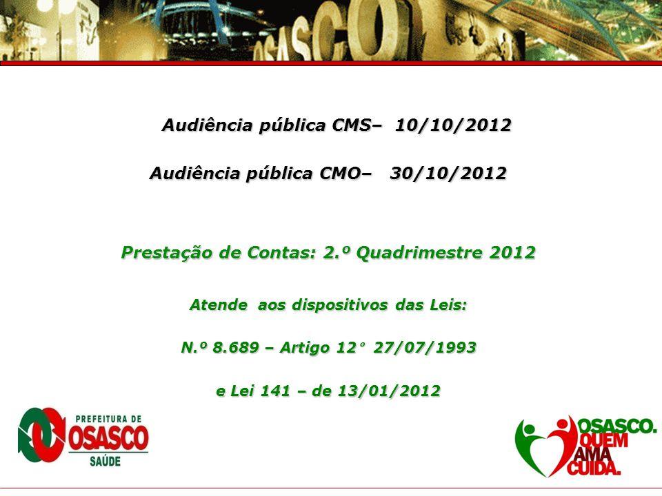 Audiência pública CMS– 10/10/2012 Audiência pública CMO– 30/10/2012