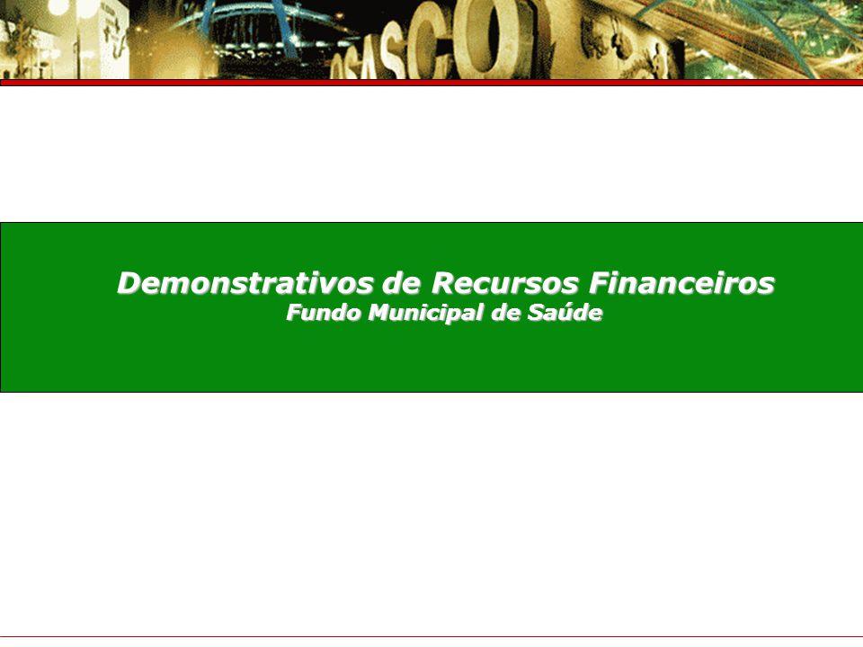 Demonstrativos de Recursos Financeiros Fundo Municipal de Saúde