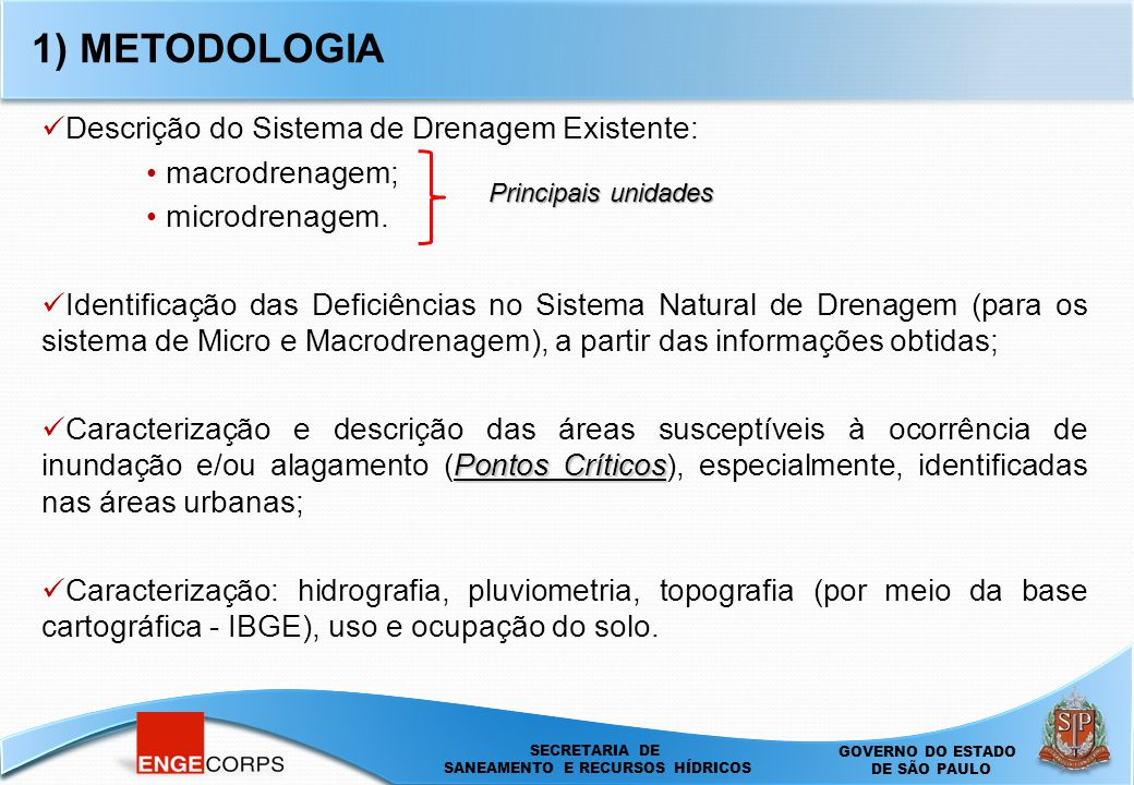 1) METODOLOGIA Descrição do Sistema de Drenagem Existente: