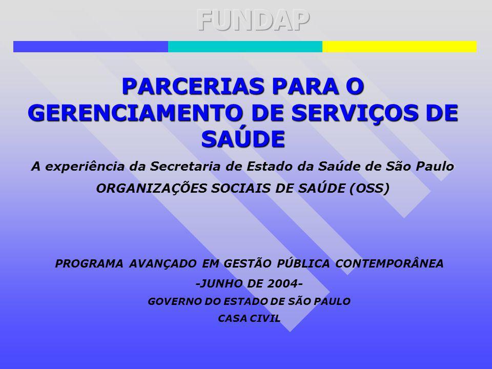 FUNDAP PARCERIAS PARA O GERENCIAMENTO DE SERVIÇOS DE SAÚDE