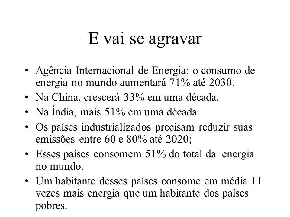 E vai se agravar Agência Internacional de Energia: o consumo de energia no mundo aumentará 71% até 2030.