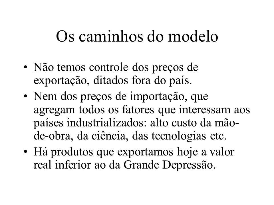 Os caminhos do modelo Não temos controle dos preços de exportação, ditados fora do país.