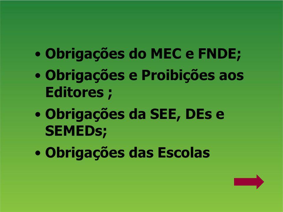 Obrigações do MEC e FNDE;