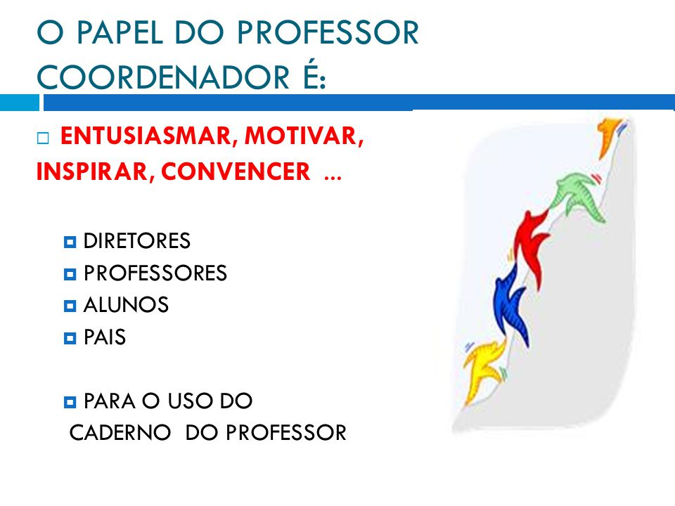 O PAPEL DO PROFESSOR COORDENADOR É: