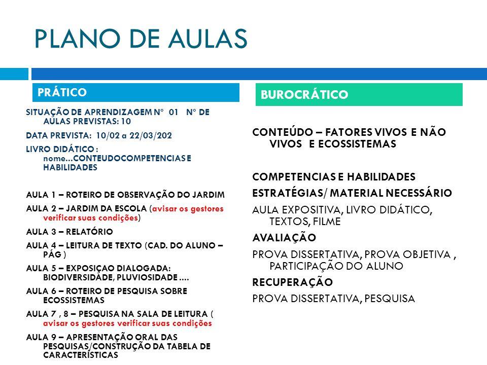 PLANO DE AULAS BUROCRÁTICO PRÁTICO