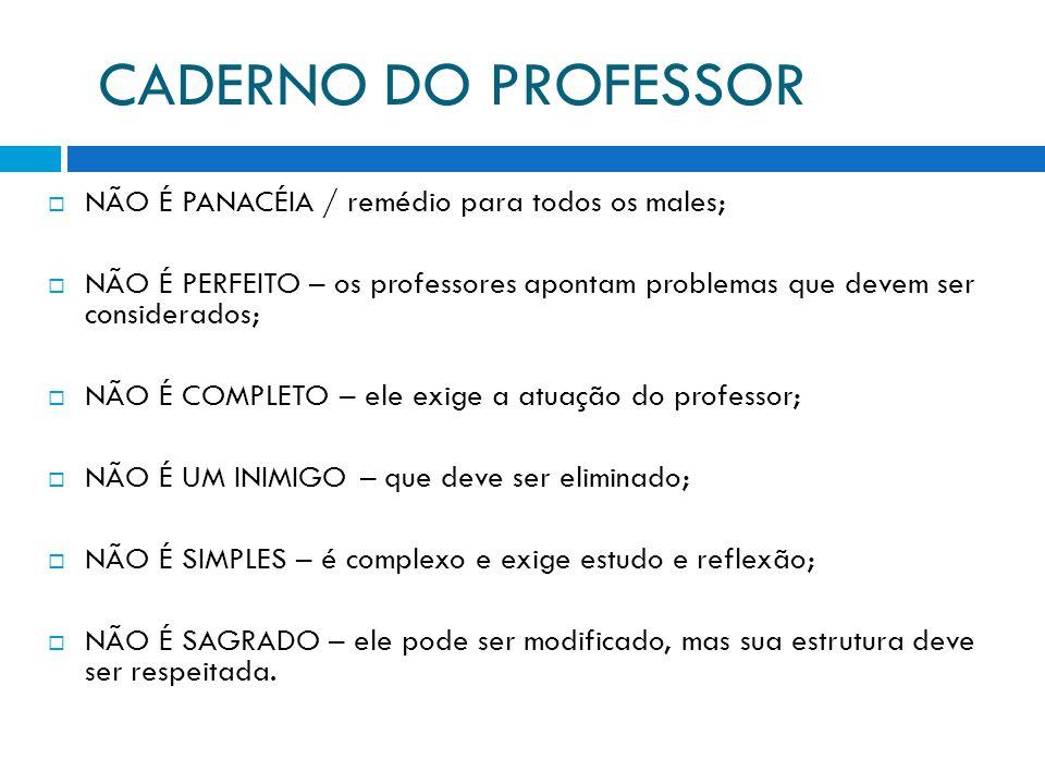 CADERNO DO PROFESSOR NÃO É PANACÉIA / remédio para todos os males;