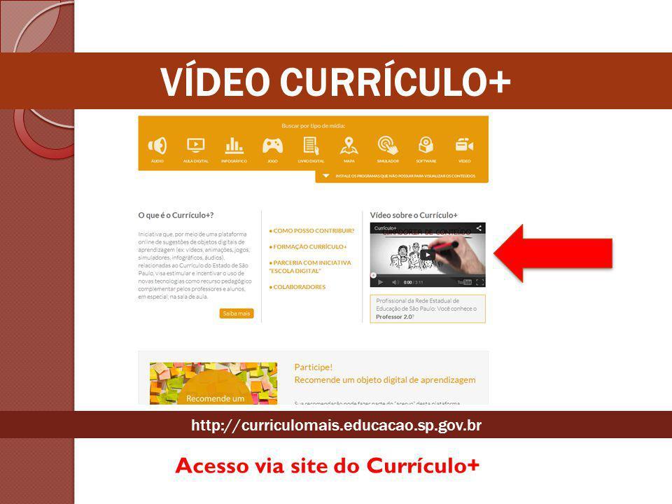 Acesso via site do Currículo+