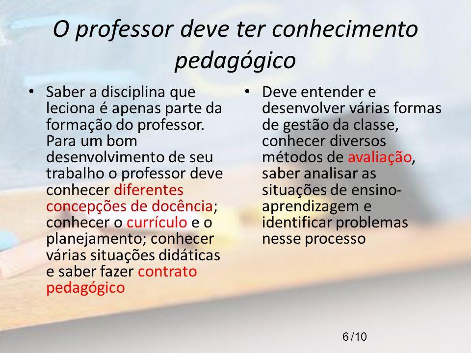 O professor deve ter conhecimento pedagógico