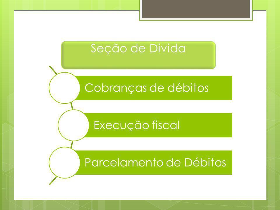 Seção de Divida Cobranças de débitos Execução fiscal