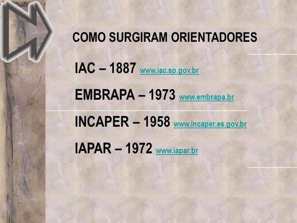 EMBRAPA – 1973 www.embrapa.br INCAPER – 1958 www.incaper.es.gov.br