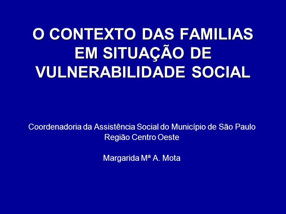 O CONTEXTO DAS FAMILIAS EM SITUAÇÃO DE VULNERABILIDADE SOCIAL
