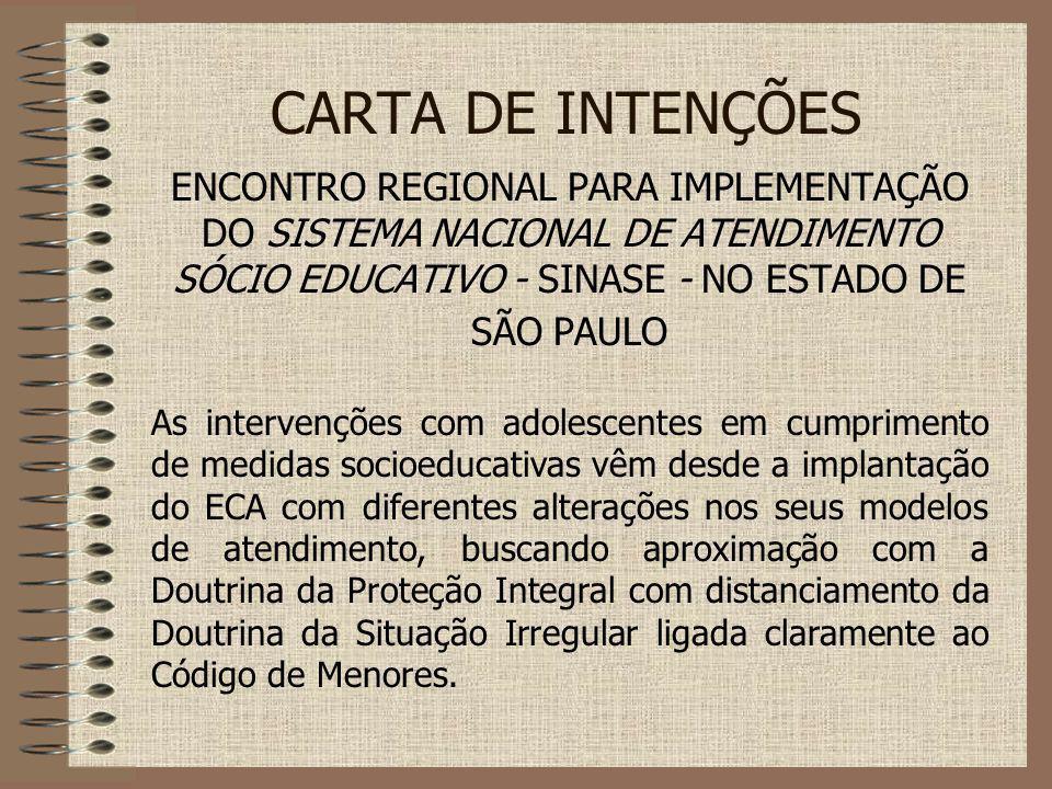 CARTA DE INTENÇÕES ENCONTRO REGIONAL PARA IMPLEMENTAÇÃO DO SISTEMA NACIONAL DE ATENDIMENTO SÓCIO EDUCATIVO - SINASE - NO ESTADO DE SÃO PAULO.