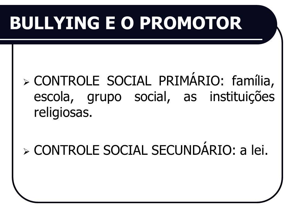 BULLYING E O PROMOTOR CONTROLE SOCIAL PRIMÁRIO: família, escola, grupo social, as instituições religiosas.