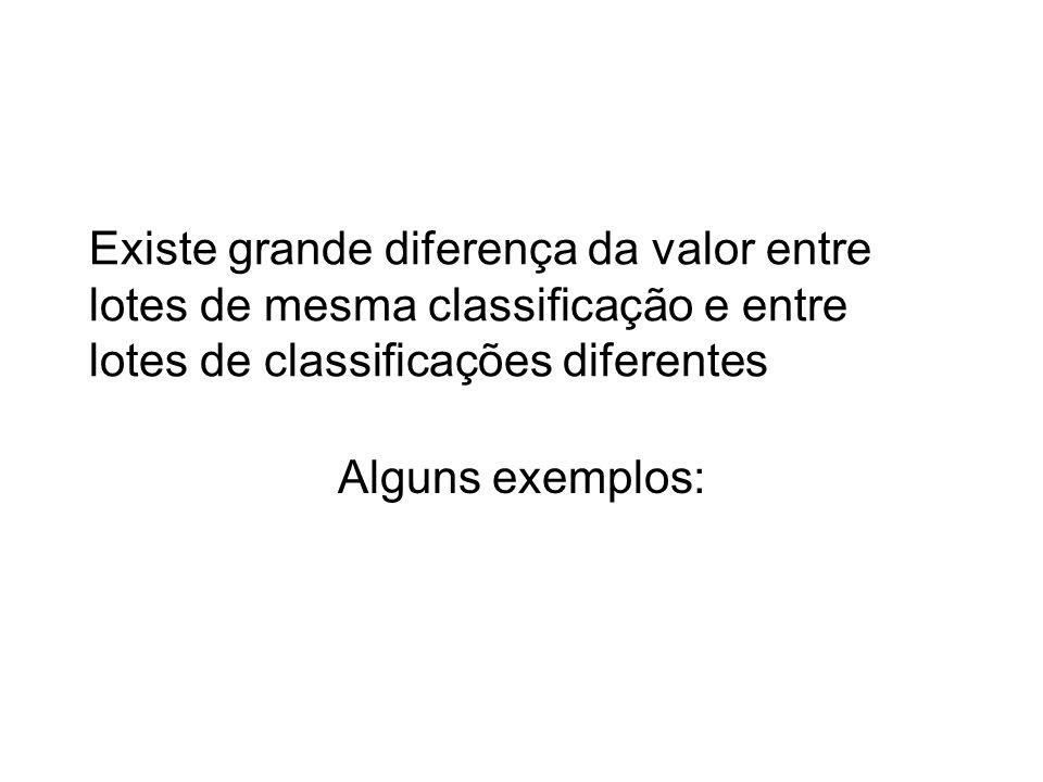 Existe grande diferença da valor entre lotes de mesma classificação e entre lotes de classificações diferentes