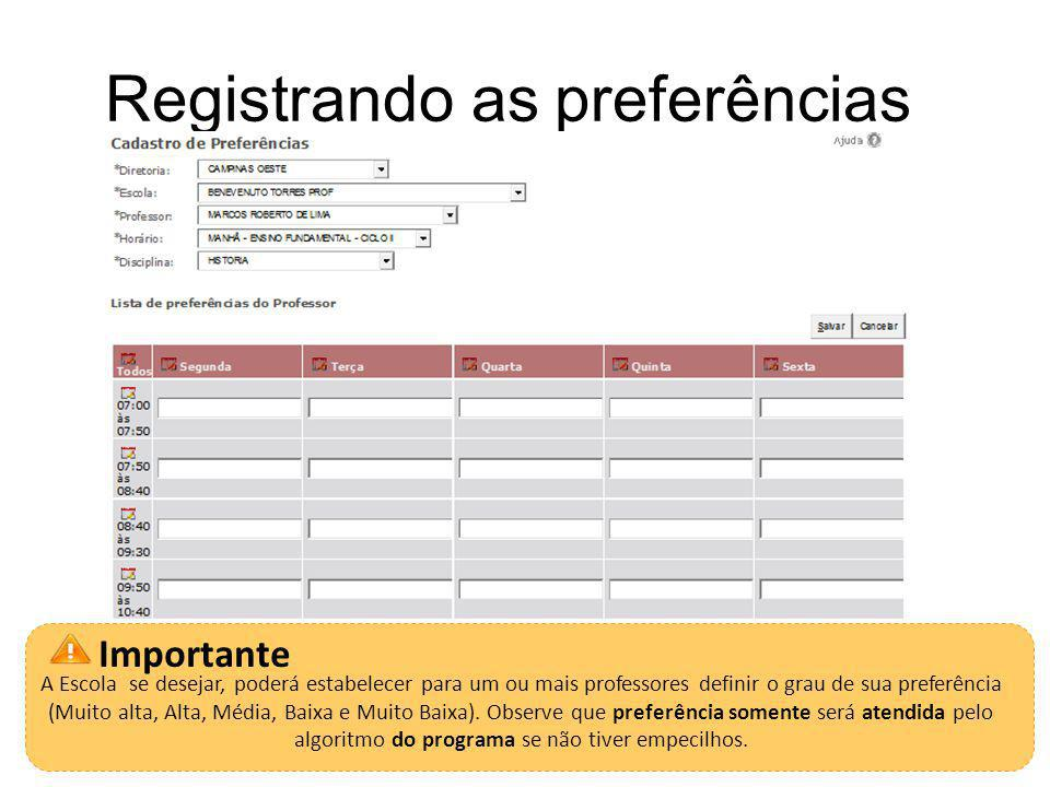 Registrando as preferências