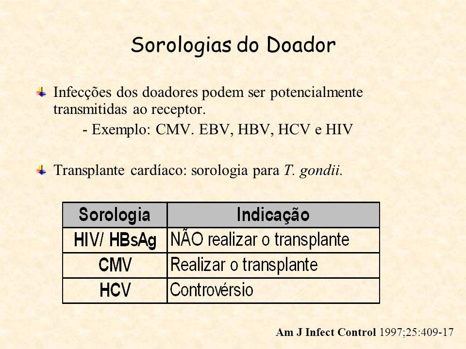 Sorologias do Doador Infecções dos doadores podem ser potencialmente transmitidas ao receptor. - Exemplo: CMV. EBV, HBV, HCV e HIV.