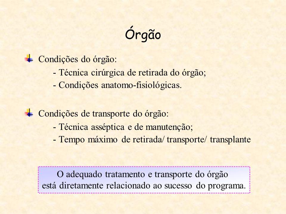 Condições de transporte do órgão:
