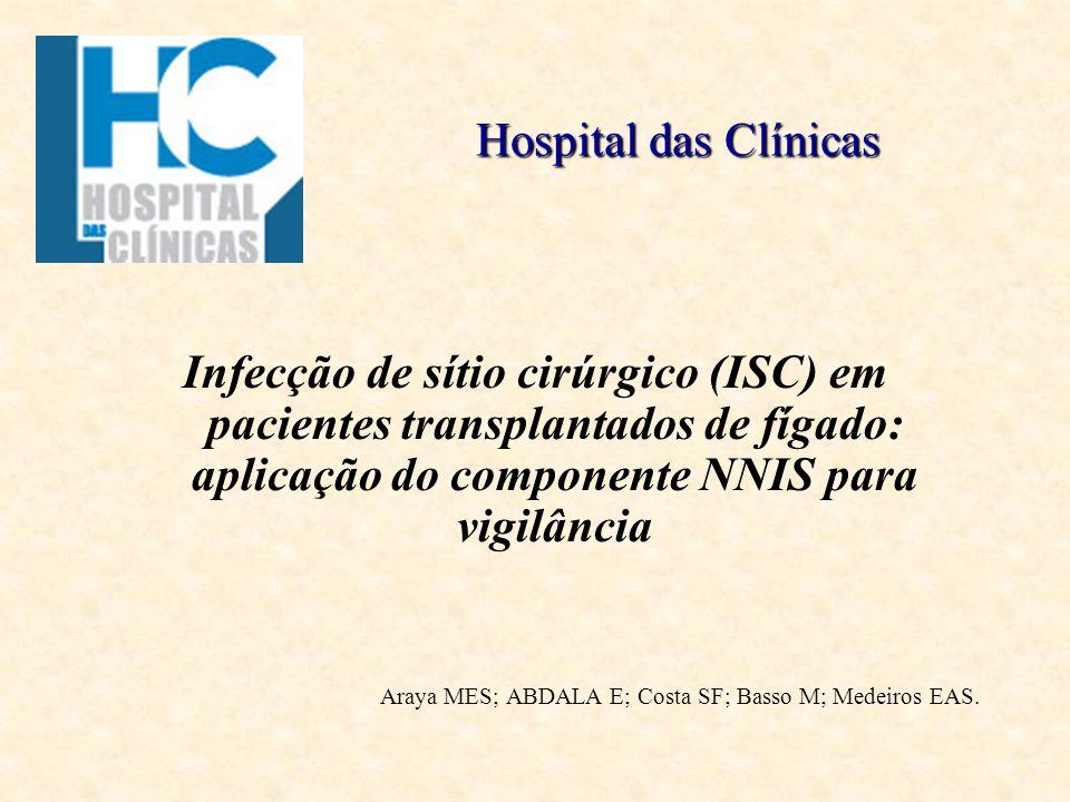 Hospital das Clínicas Infecção de sítio cirúrgico (ISC) em pacientes transplantados de fígado: aplicação do componente NNIS para vigilância.