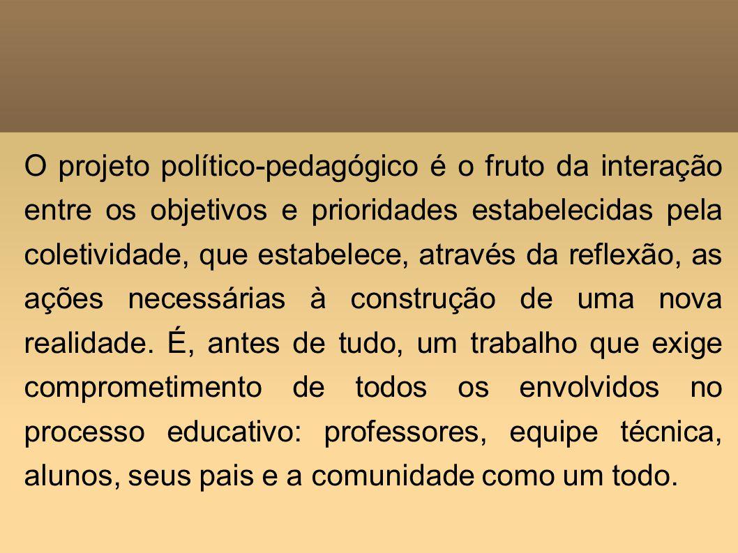 O projeto político-pedagógico é o fruto da interação entre os objetivos e prioridades estabelecidas pela coletividade, que estabelece, através da reflexão, as ações necessárias à construção de uma nova realidade.