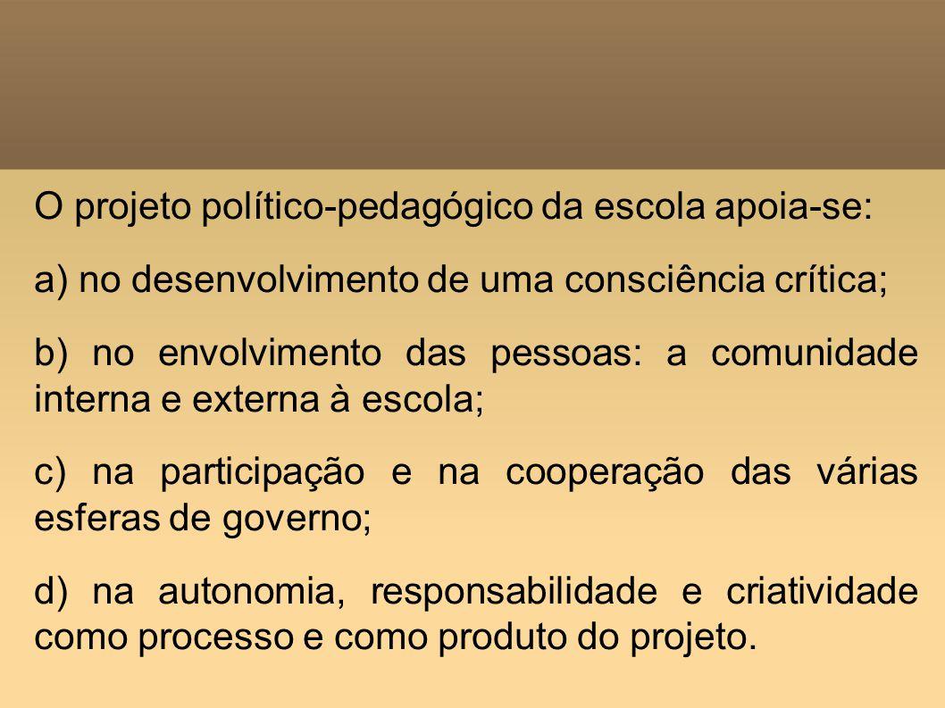 O projeto político-pedagógico da escola apoia-se: