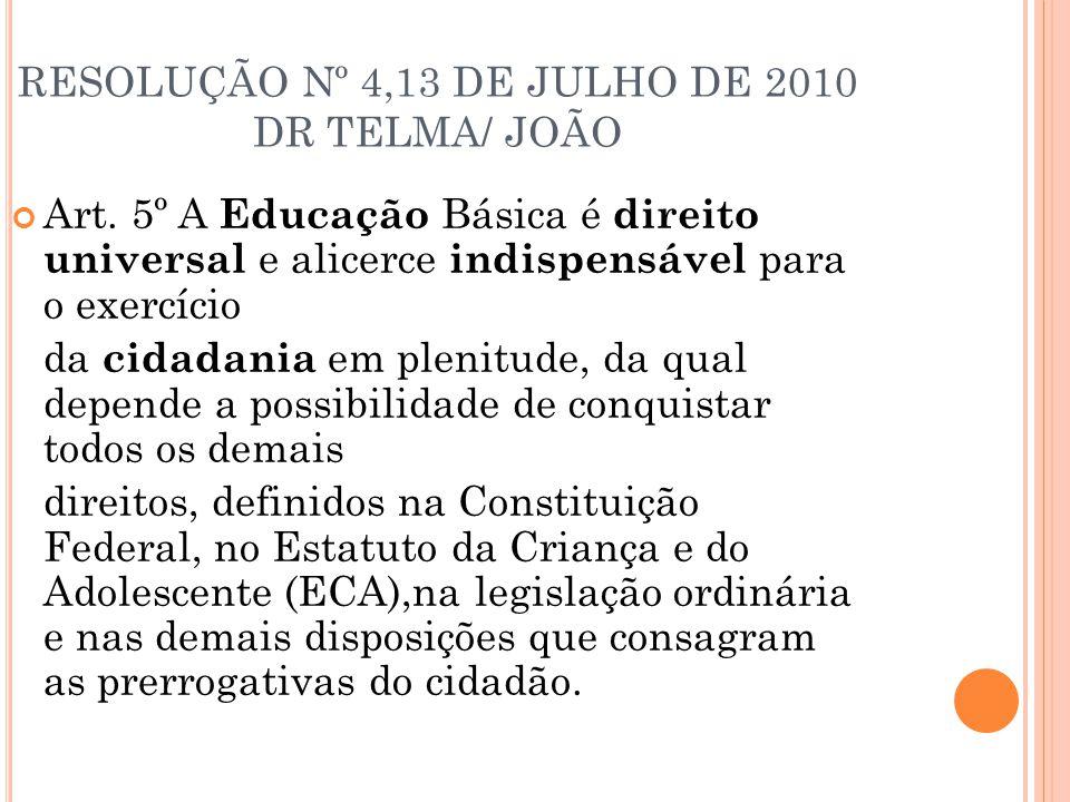 RESOLUÇÃO Nº 4,13 DE JULHO DE 2010 DR TELMA/ JOÃO