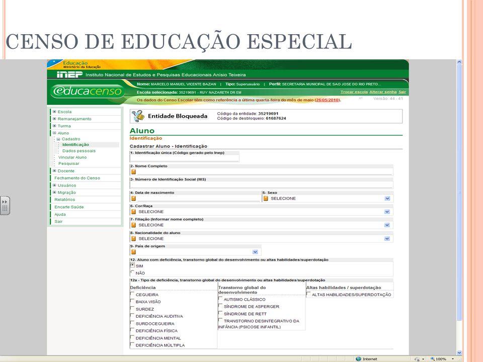 CENSO DE EDUCAÇÃO ESPECIAL