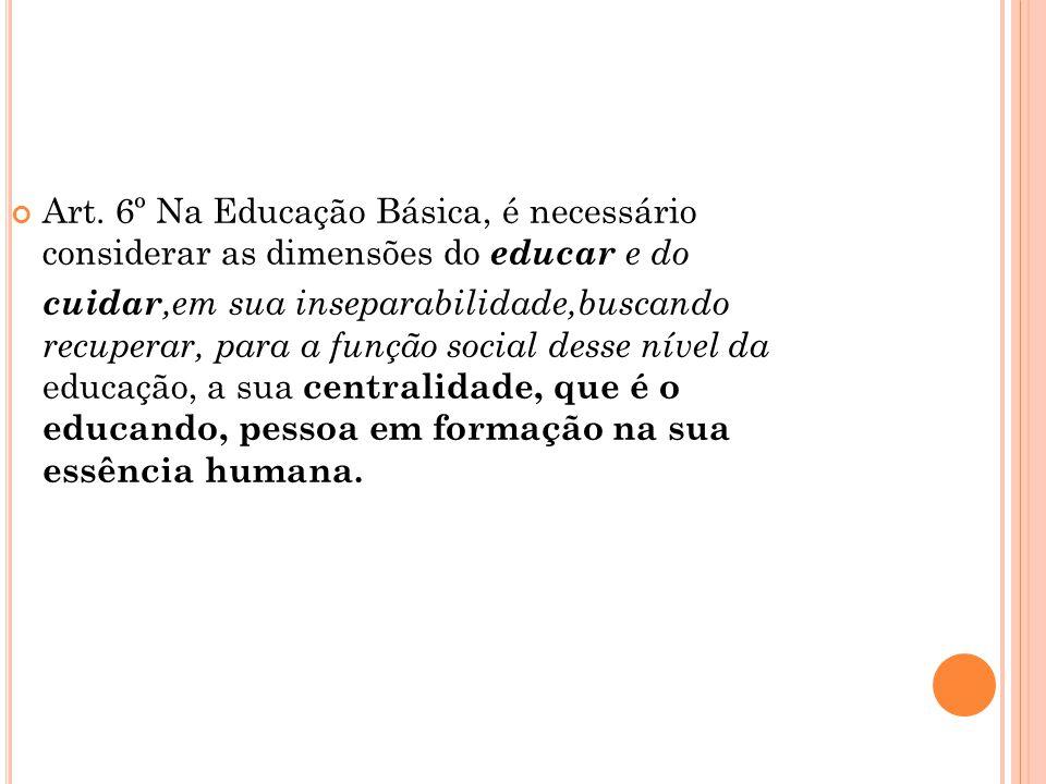 Art. 6º Na Educação Básica, é necessário considerar as dimensões do educar e do