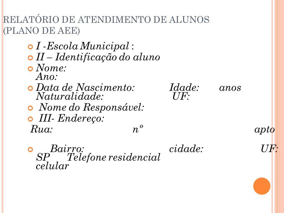 RELATÓRIO DE ATENDIMENTO DE ALUNOS (PLANO DE AEE)