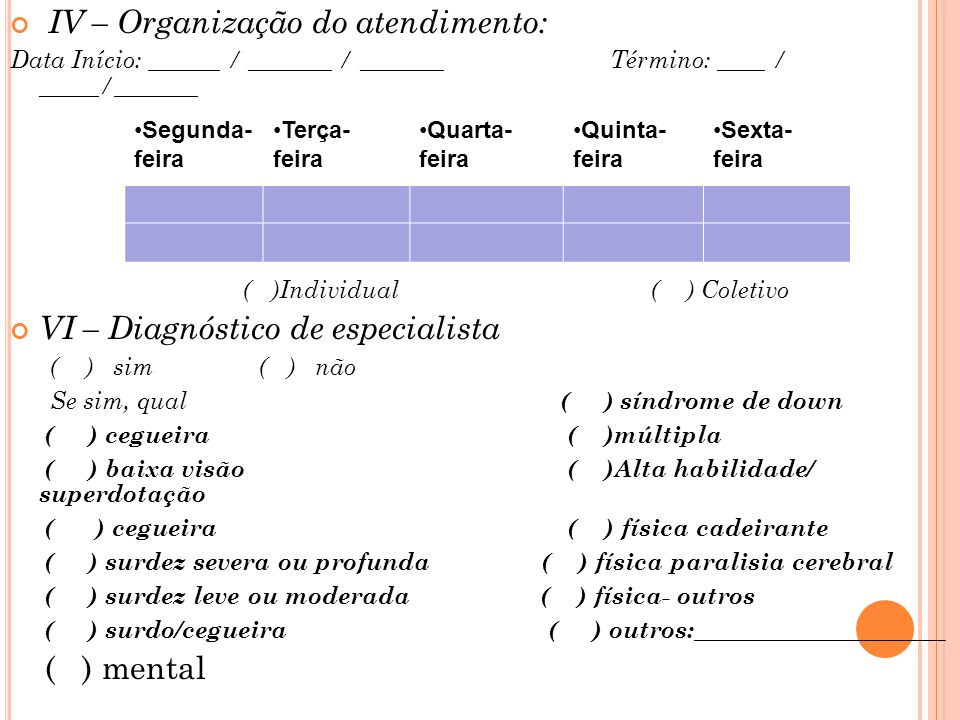 IV – Organização do atendimento: