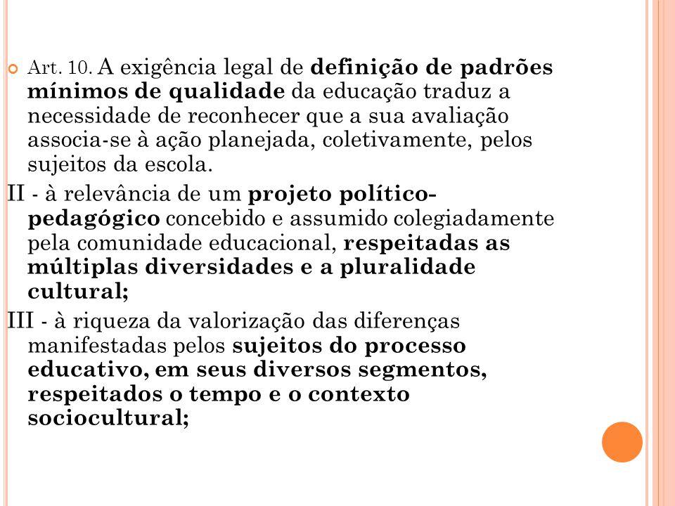 Art. 10. A exigência legal de definição de padrões mínimos de qualidade da educação traduz a necessidade de reconhecer que a sua avaliação associa-se à ação planejada, coletivamente, pelos sujeitos da escola.