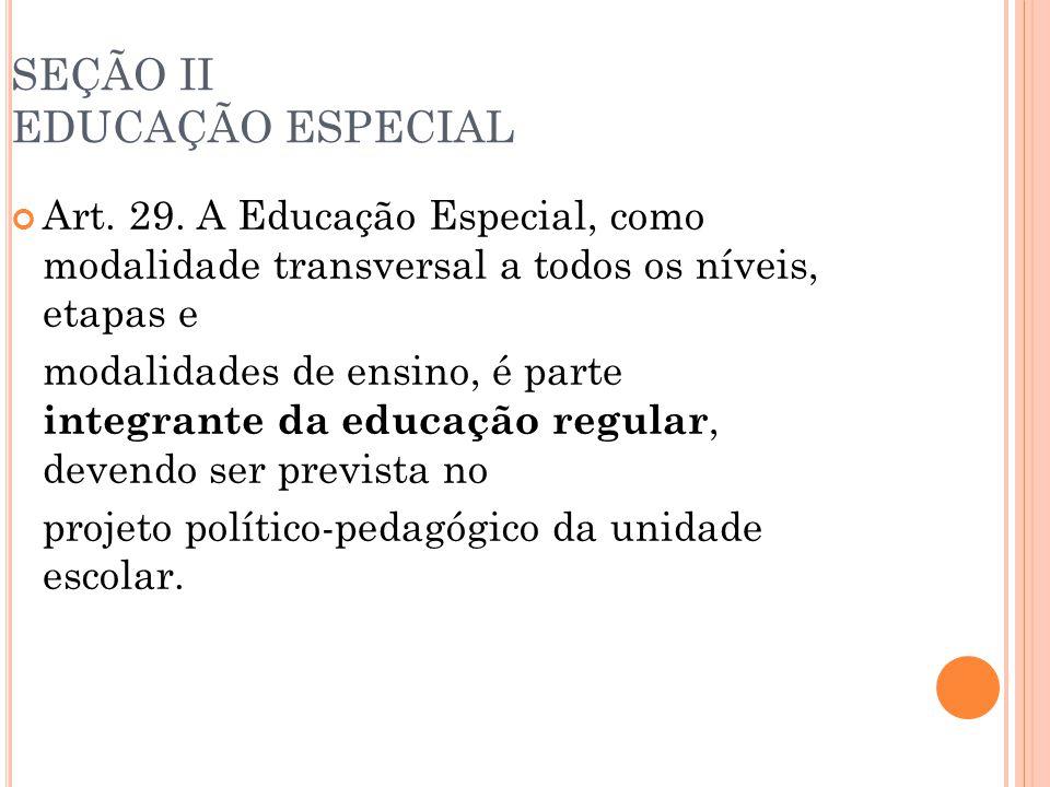 SEÇÃO II EDUCAÇÃO ESPECIAL