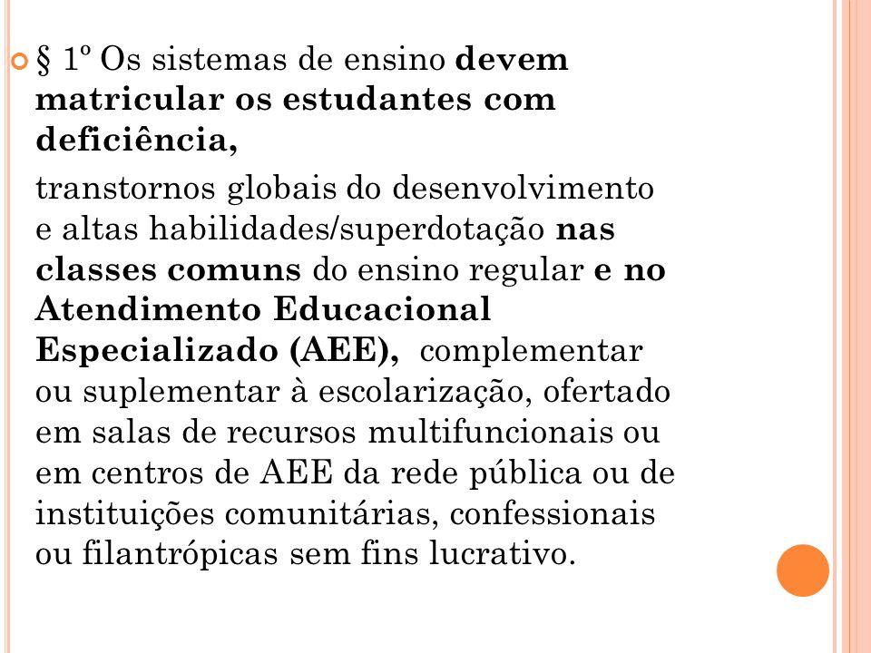 § 1º Os sistemas de ensino devem matricular os estudantes com deficiência,