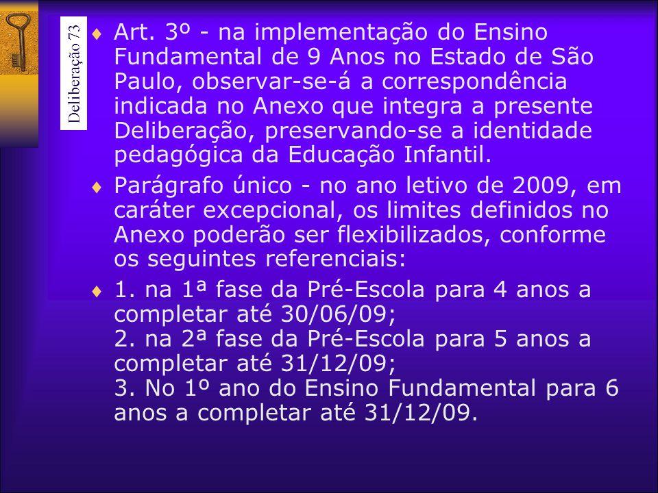 Art. 3º - na implementação do Ensino Fundamental de 9 Anos no Estado de São Paulo, observar-se-á a correspondência indicada no Anexo que integra a presente Deliberação, preservando-se a identidade pedagógica da Educação Infantil.