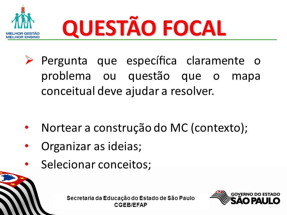 QUESTÃO FOCAL Pergunta que específica claramente o problema ou questão que o mapa conceitual deve ajudar a resolver.