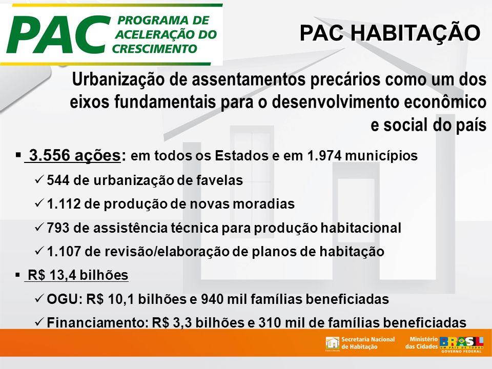 PAC HABITAÇÃO 3.556 ações: em todos os Estados e em 1.974 municípios