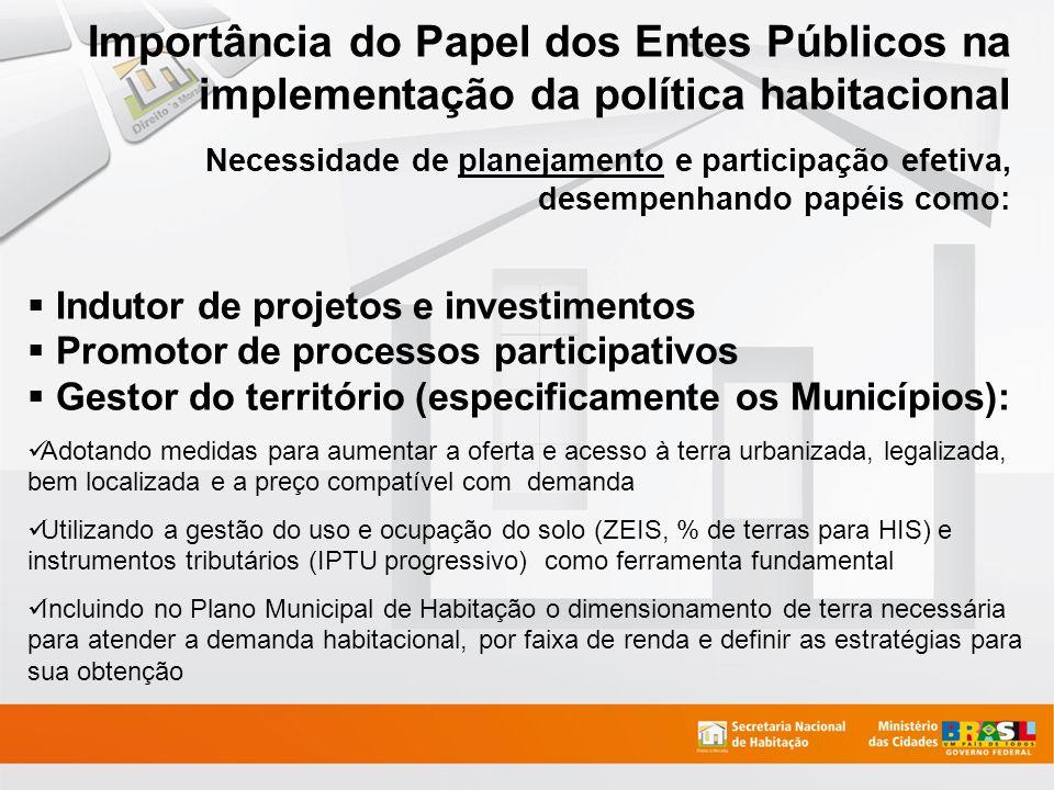 Importância do Papel dos Entes Públicos na implementação da política habitacional