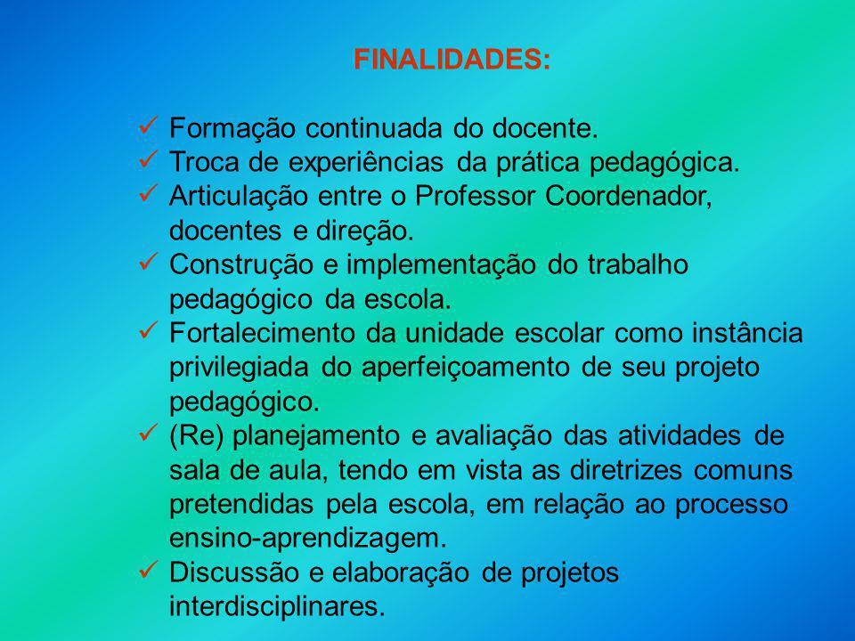 FINALIDADES: Formação continuada do docente. Troca de experiências da prática pedagógica.