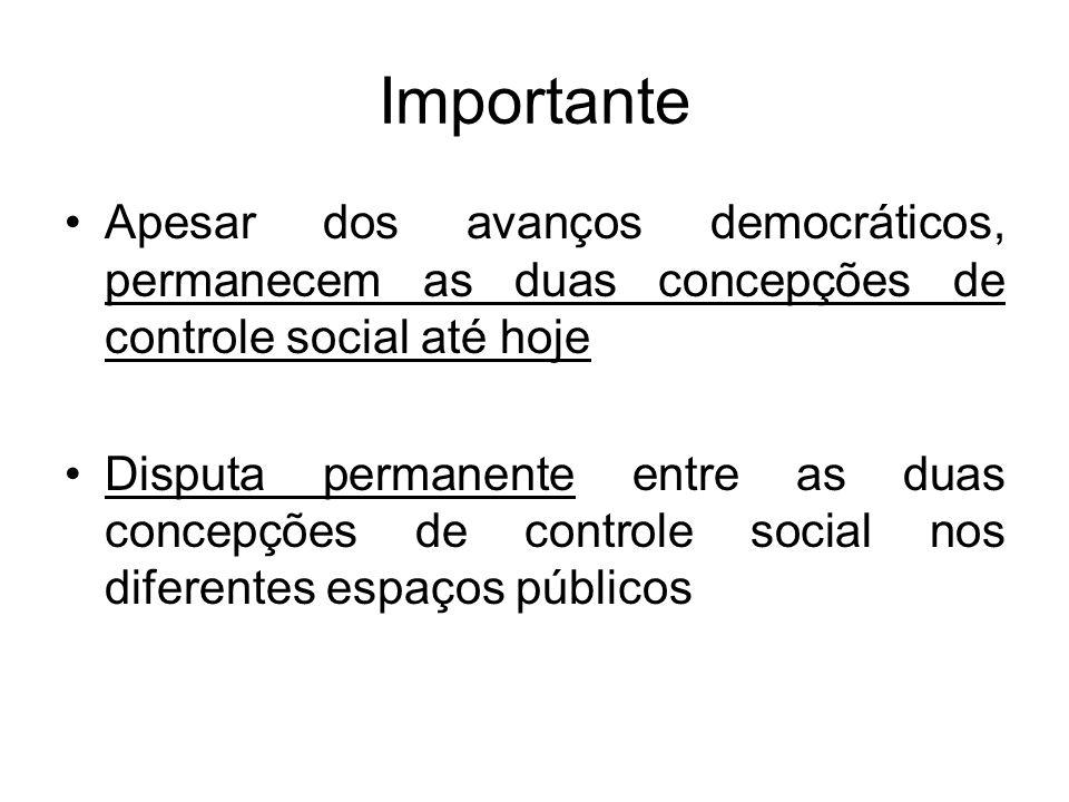 Importante Apesar dos avanços democráticos, permanecem as duas concepções de controle social até hoje.