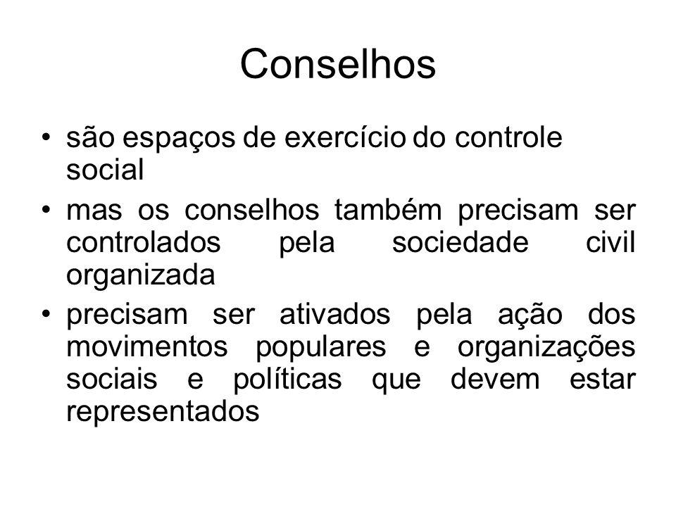 Conselhos são espaços de exercício do controle social