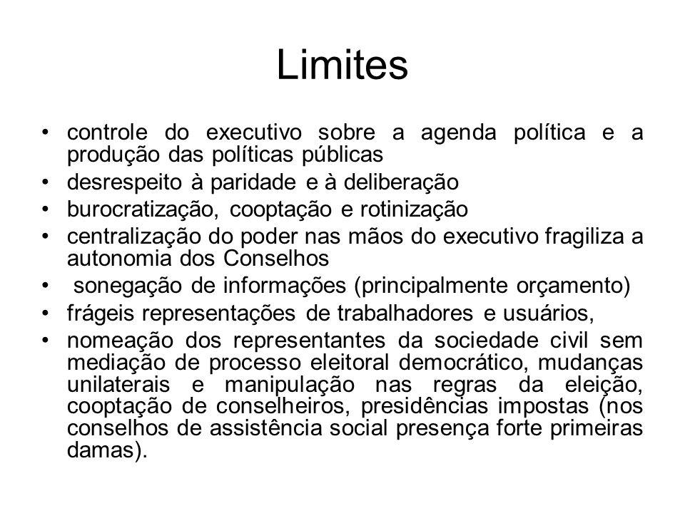 Limites controle do executivo sobre a agenda política e a produção das políticas públicas. desrespeito à paridade e à deliberação.