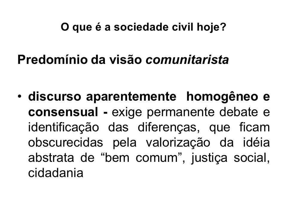 O que é a sociedade civil hoje